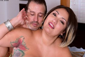 Sexy plumper Sinful Celeste is a horny young debutant at xl-girls.com